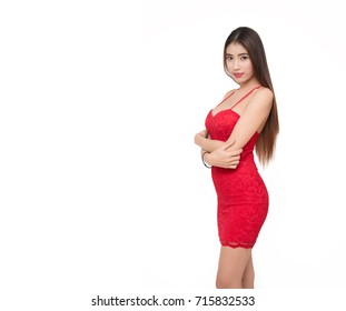 isolated Beautiful girl in red dress