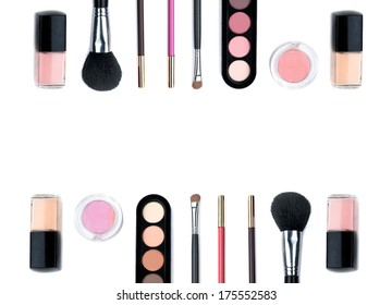 A lot of  Isolated beautiful nude cosmetic and brushes for women