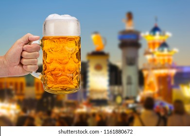 isolated beer mug in hand