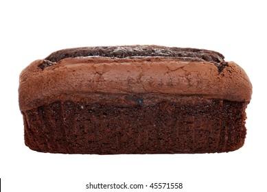 isolated belgium chocolate cake loaf