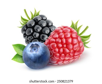 isolated berries. Blueberry, raspberry and blackberry over white background, with clipping path