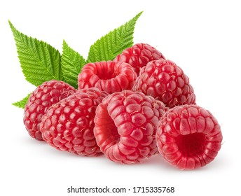Isolated berries. Bunch of raspberry fruits with leaves isolated on white background, with clipping path