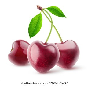Isolated berries. Pair of heart shaped cherry fruits on a stem isolated on white background with clipping path