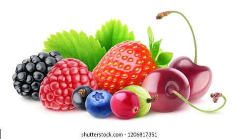 Isolated berries. Pile of fresh fruits (blackberry, raspberry, black currant, blueberry, cranberry, gooseberry, strawberry and cherries) isolated on white background with clipping path