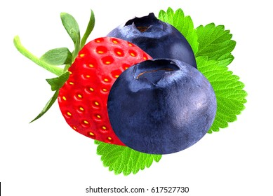 Isolated berries. Strawberry and blueberry isolated on white background as package design element.