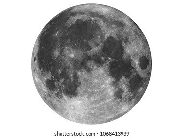 Isolated big Super Moon taken with large newtonian telescope in white background.