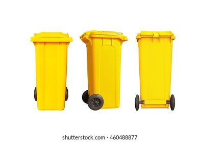 Isolated big yellow garbage bin or trash can and black wheels in three dimension with clipping path