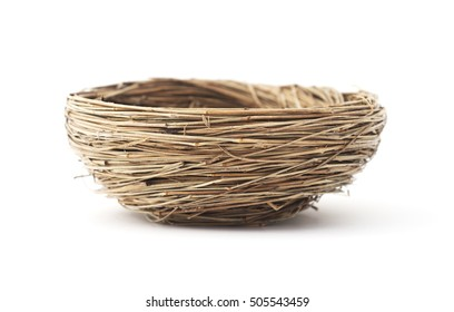 Isolated bird's nest on a white background.