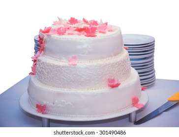 Isolated Birthday cake on the table with a stack of plates and a knife