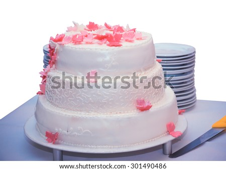 Isolated Birthday Cake On The Table With A Stack Of Plates And Knife
