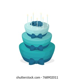 Isolated birthday cake on white background. Big blue and turquoise cake with candles and bows.