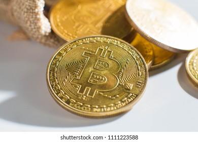 Isolated  Bitcoin on white scene