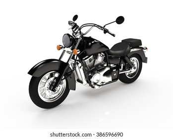 isolated black classic motorcycle.