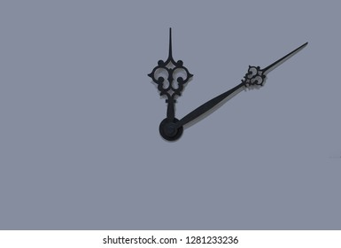 isolated black clock hands on white background, wallpaper object pattern time twelve concept with empty copy space for your text or inscription