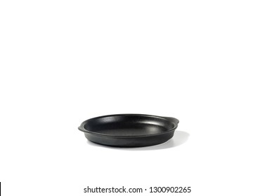 Isolated Black Coloured Sizzler Plate Side View Ideal for Serving Fajita, Steak and Eggs