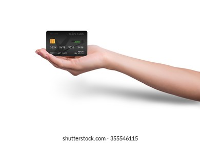 Isolated black credit card in hand