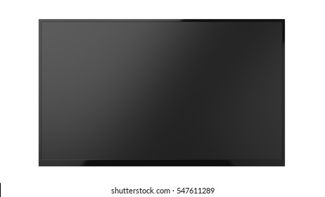 Isolated black flat wide tv