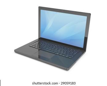 Isolated  Black Laptop