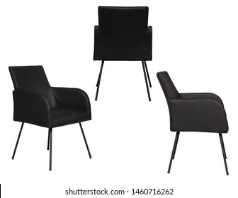 Isolated Black Leather and Fabric Office Armchair