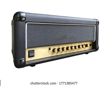 Isolated black leather and gold control panel modern electric guitar British style amplifier with a black knob on white background with clipping path. Popular amp in rock music. front view photo.