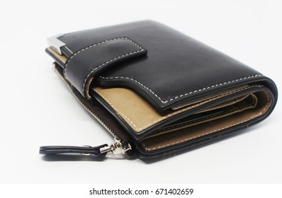 isolated Black Leather Wallet 2