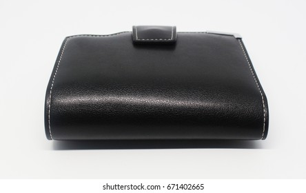 isolated Black Leather Wallet (behind)