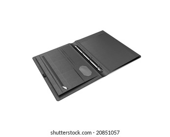 isolated black leather wallet over white