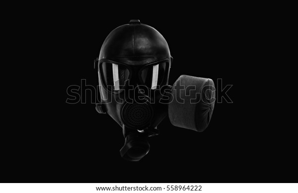 Isolated Black Military Gas Mask Wallpaper Stock Image