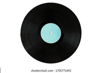 Isolated black music vinyl record.
