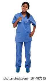 Isolated Black Nurse full length