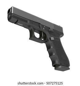 Isolated black pistol on white. 3D illustration