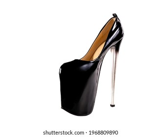 isolated black shoes threesome strips on very high heels on a white background. Shoes for strip plastic, pole dance, exotic. Beautiful closed stiletto heels.