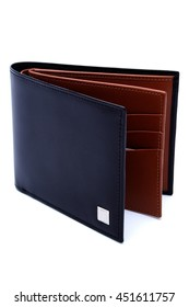 isolated black short leather texture wallet with white background / Male purse