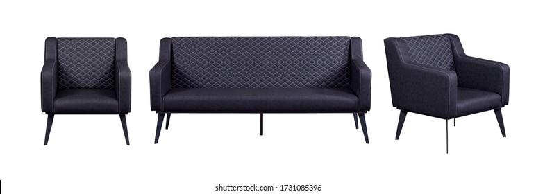 Sofá y sillón de grupo negro aislado sobre fondo blanco