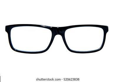 Isolated black square eyeglasses frame on white background