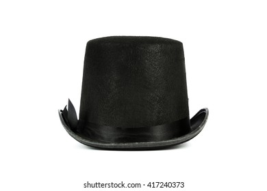 isolated black tall hat on white background