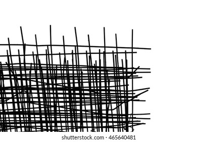 isolated black and white image of construction rebar wire metal mesh