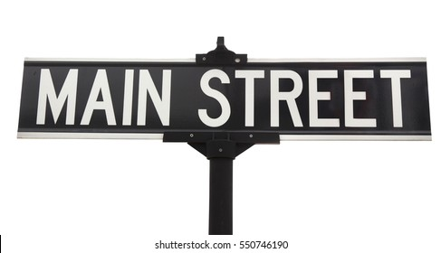Isolated black and white MAIN STREET street sign. Horizontal.