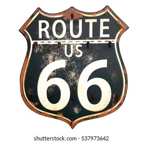 Isolated black and white vintage Route 66 sign.