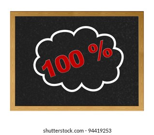 Isolated blackboard with 100 % discount.