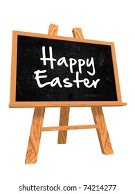 isolated blackboard with easel with text - happy easter