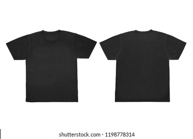 Isolated  Blank Black  Front and Back T-Shirt Template For Mock-Up Graphic