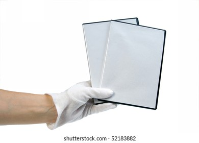 isolated - blank case DVD / CD in hand white background