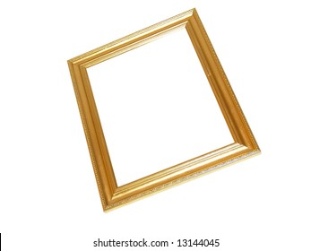 Isolated Blank Gold Picture Frame Cutout Background Close-up