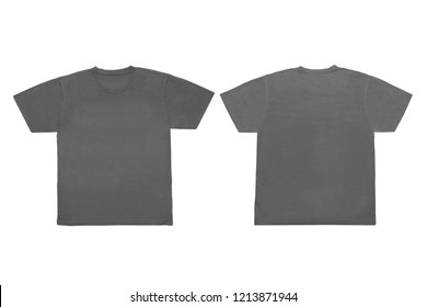 Isolated  Blank Gray Front and Back T-Shirt Template For Mock-Up Graphic