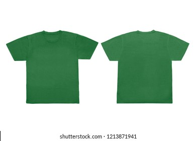 Isolated Blank Green Front And Back T Shirt Template For Mock Up Graphic