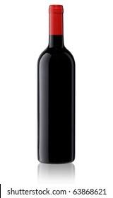 Isolated blank wine bottle