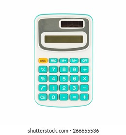 Isolated of blue calculator on white background.