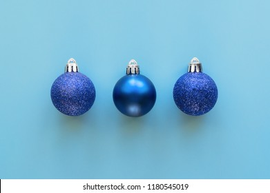 Isolated blue christmas decoration baubles. Top view.