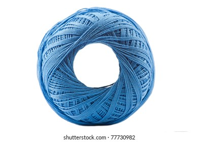 Isolated blue cotton spool against white background